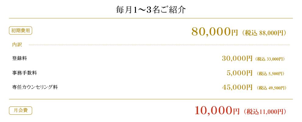 毎月1〜3名ご紹介 月会費 10,000円(税込10,800円)