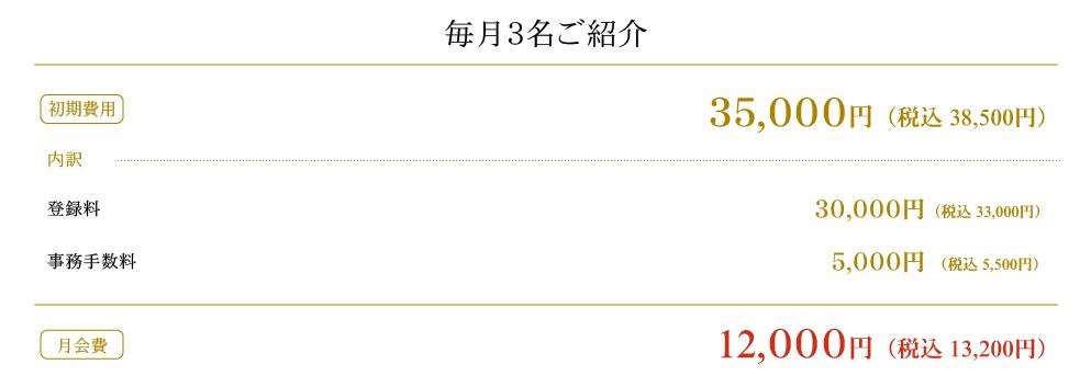 毎月3名ご紹介 12,000円(税込12,960円)